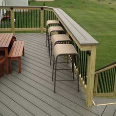 A PLACE TO EAT AND HANG OUT - Adding a bar top over your deck railing is a simple & affordable way to add extra seating + entertainment space.