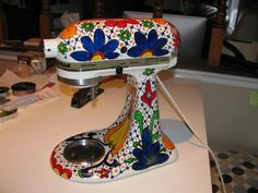 hand painted mixer to go with Mexican ceramic pieces