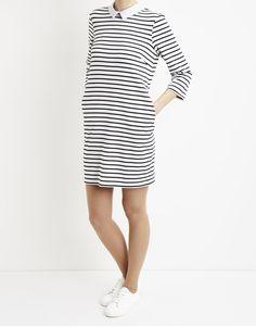 2a8acb53dd469e Koop Jurk - Jersey Dress Striped Black White Online op  shop.brothersjeans.nl voor slechts € 34