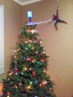 Superhero christmas tree. Spidey was a nice touch.