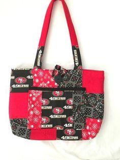 Handmade Sports Handbag,  NFL  Fabric Bag, Tote, Handmade Bag-San Francisco 49er's, Team Bag, Team Spirit Bag
