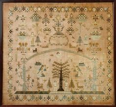 Learn more about American Sampler with Adam & Eve available at Cottone Auctions. Take a look now before it is too late! Embroidery Sampler, Cross Stitch Embroidery, Embroidery Patterns, Hand Embroidery, Adam Et Eve, Cross Stitch Samplers, Cross Stitches, Sewing Notions, Sewing Tools