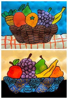 A favorite grade lesson. Remember the baskets? Took several classes but this batch is done! Artsonia inspiration from years ago. Art Drawings For Kids, Art For Kids, 2nd Grade Art, Jr Art, School Art Projects, Art Lessons Elementary, Middle School Art, Autumn Art, Art Classroom