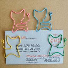 KINGSO Büroklammern aus Metall 24 Stück in PVC-Etui Katze
