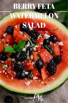 Berry Feta Watermelon Salad is a refreshing salad and perfect side dish recipe for all your summer grilled recipes. #watermelonsalad #citrusvinaigrette #callmepmc #recipe #salad #summerrecipes