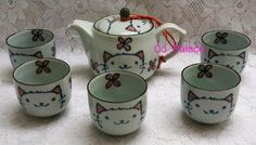 Tea Set Lucky Cat Kitty Chinese Porcelain Teapot Set 5 Cup with Filter