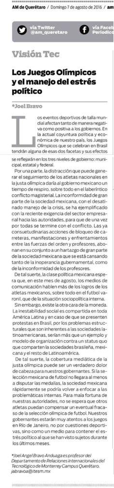 """Visión Tec """"Los Juegos Olímpicos y el manejo del estrés político"""" Joel Bravo"""