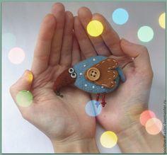 Броши ручной работы. Ярмарка Мастеров - ручная работа. Купить Птица Счастья.Брошь для неисправимых оптимистов)). Handmade. Синий, птица