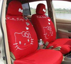 New Fashion Cute Cartoon Hello Kitty Cat Car Seat Cover Red