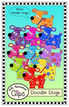 """Doodle Dogs"" Clip Art - 10 dogs in vibrant colors. CU OK! http://www.teacherspayteachers.com/Product/Clip-Art-Doodle-Dogs"
