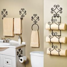 Using a wine rack as a towel holder