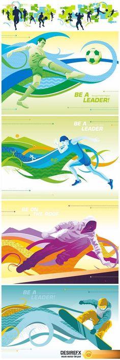 Sport, and football banners running EPS Football Banner, Creative Banners, Banner Vector, Vector Illustrations, Running, Sports, Poster, Inspiration, Art