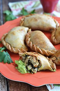 Chicken, Spinach, & Poblano Empanadas with Avocado-Jalapeno Dip. These make great appetizers, or make them ahead of time for on-the-go meals.