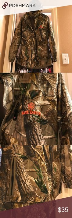 Game Winner Hunter Jacket🌱🦌 Stay concealed while stalking your prey in a Women's Camo Patterns Hunting Jacket made of fleece such as insulations and linings, for hunting in cold weather, Pullovers with 2 side pockets and gear storage compartments for easy access to your essentials and hoodie.Women's size S, Gently used.🌱🦌 Game Winner Jackets & Coats Utility Jackets