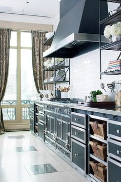 25 Beautiful Black and White Kitchens - The Cottage Market--Like the steampunky look of this one!