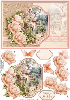 VINTAGE ROSE COTTAGE Card Topper Decoupage on Craftsuprint designed by Janet Briggs - Card topper, with 3d step by step rose decoupage, featuring a pretty vintage painting of a rose cottage.Optional butterfly embellishment.2 sentiment tags, one blank and Happy BirthdayNOTE A coordinating insert is available. See multilink below. - Now available for download!
