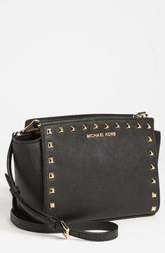 MICHAEL Michael Kors 'Selma - Stud' Saffiano Leather Crossbody Bag available at #Nordstrom