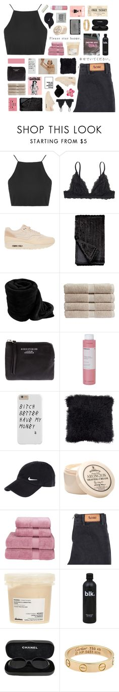 """""""you take my love for granted"""" by nanarachell ❤ liked on Polyvore featuring Topshop, Monki, NIKE, CASSETTE, Christy, NARS Cosmetics, Acne Studios, Korres, Davines and Chanel"""