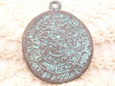 Rustic Patina Disc of Phaistos Pendant Mykonos by BellasBeadHabit