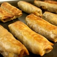 Homemade Baked Egg Rolls - make these with chicken, black beans for mexican egg rolls and of course add Wholly Salsa and Wholly Guacamole
