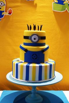 new ideas for birthday cake kids boys minion Birthday Cake Kids Boys, 16 Birthday Cake, Minion Birthday, Minion Party, Bolo Jake, Fondant Cakes, Cupcake Cakes, Bolo Minion, Bolo Fake Eva