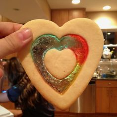 Stained glass cookies. Grind up jolly ranchers and place the ground bits in between the cookie and bake!