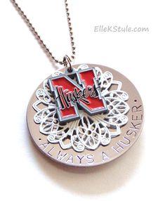 """Nebraska Cornhuskers"" Personalized Hand-stamped Pendant (NCAA, NFL, MLB) - Jewelry"