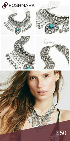 Free people necklace Free People Drippy Mesh Collar Necklace measures in length 14 1/2 - 17 inches = 36 3/4 - 43 1/4 c  New Free People Jewelry Necklaces