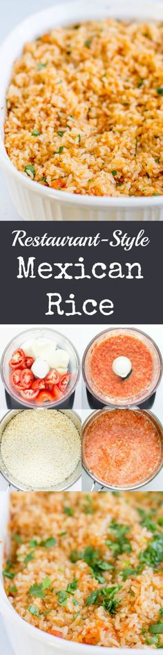 Recreate Restaurant-Style Mexican Rice at home in your oven. This fool-proof method starts with fresh vegetables and ends with fluffy grains every time.