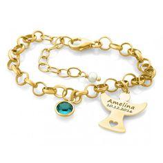 Ein wunderschönes Armband komplett aus 925 Sterling Silber hochwertig echt vergoldet mit einem Geburtsstein und einem Gravuranhänger in Engelform. Ein ganz besonderes Schmuckstück zur Taufe, Geburt etc.