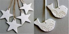 Faire des décorations en pâte d'argile autodurcissante Clay Christmas Decorations, Christmas Crafts, Christmas Time, Xmas, Diy And Crafts, Crafts For Kids, Diy Advent Calendar, Imagination, Pottery Ideas