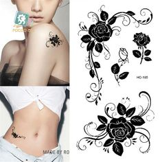 ad53af991260e Body Art Sex Products waterproof temporary tattoos for men women sexy black  rose design flash tattoo