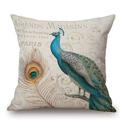 Wholesale Customized Retro Peacock Printing Cotton Linen Throw Pillow Sofa Office Chair Cushion For Home Accessories Cm Sofa Throw Pillows, Throw Pillow Cases, Pillow Shams, Cushions, Design Retro, Blue Design, Kitchen Couches, Peacock Christmas Tree, Peacock Pillow