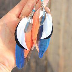 Blue Feather Earrings Feather Earrings Pink Earrings Shaman