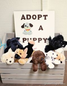 Puppy party theme: adopt a puppy- Much easier than those little party favor bags