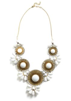 Stop, Elaborate, and Glisten Necklace--heavy, showy, yet graceful neck-wear appears throughout Anouk's fashion repertoire. Jewelry Box, Jewelery, White Necklace, Flower Necklace, Beaded Flowers, Modcloth, Beautiful Necklaces, Fashion Accessories, Gold Accessories