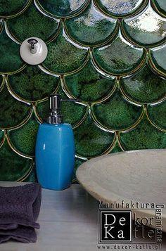 Fans Tile by DeKa Ceramic Tiles Studio - Handmade Handmade Tiles, Handmade Ceramic, Fish Scale Tile, Arabesque Tile, Metro Tiles, Hexagon Tiles, Haiti, Wall Tiles, Decoupage