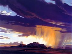Ed Mell - RainySeason,  I fell in love with Ed Mell's art because of his amazing eye  for the western states' landscapes.