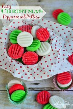 """Christmas Mint Candies:1/4C Soft Butter*1/3C Lt Corn Syrup*4C Pwrd Sugar*1-2 Tsp Peppermint Ext *Gel Food Coloring* DIRECTIONS:1/2C Gran Sugar*Mix Butter & Corn Syrup In Sm Bowl.Add 2C Powrd Sugar & Ext, Mix Well.Stir In 1C Of Powrd Sugar.Turn Onto Cutting Board Sprinkled W/Last C Of Powrd Sugar.Knead Mixture Til Sugar Is Absorbed Completely Smooth.Divide Dough In 3 Portions.Tint Each A Different Color.Shape Into 3/4"""" Balls & Roll In Gran Sugar.Flatten With A Fork.Let Stand Uncovered For 1 Day."""