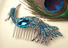 Turquoise Blue Rhinestone Peacock Bridal Hair Comb, Heirloom Teal Bird Silver Brooch to Large Headpiece Art Deco Aqua Blue Wedding Accessory by AmoreTreasure