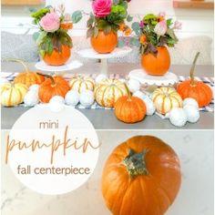 Mini Pumpkin Flower Centerpiece Ideda Wheat Centerpieces, Pumpkin Centerpieces, Thanksgiving Centerpieces, Diy Thanksgiving, Flower Centerpieces, Faux Pumpkins, Small Pumpkins, Pumpkin Floral Arrangements, Pumpkin Flower