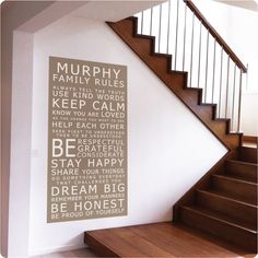 Customise our removable wall stickers, seen here  as a set of family rules in a Carlisle Home (white on cocoa background)