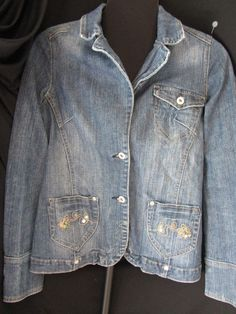 VANITY Juniors L Fitted JEAN JACKET, Floral Sequin Pockets, Stonewash  #Vanity #JeanJacket#SEQUIN