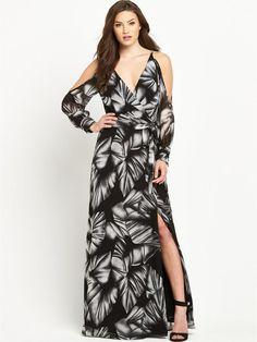 Cold Shoulder Printed V-Neck Maxi Dress…