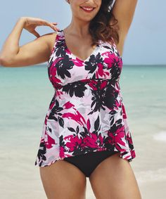 Look what I found on #zulily! Abstract Floral Bloom Sidetail Tankini Top - Plus Too #zulilyfinds