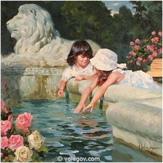 Gallery of artist Vladimir Volegov, portraits of very beautiful women. Painting For Kids, Figure Painting, Painting & Drawing, Dress Painting, Paintings I Love, Beautiful Paintings, Pictures To Paint, Art Pictures, Victorian Paintings