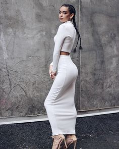 Done by ( Makeup by Taken by 📷 Two piece outfit from 💕 Janice Joostema, Harper's Bazaar, Puffy Eyes, Two Piece Outfit, White Outfits, Parisian Style, Well Dressed, Going Out, High Waisted Skirt