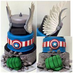 Superhero Trio - Cake Wrecks - Home Cake Wrecks, Crazy Cakes, Fancy Cakes, Fondant Cakes, Cupcake Cakes, Marvel Cake, Thor Cake, Hulk Cakes, Avenger Cake