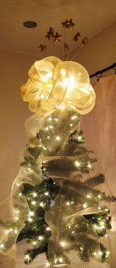Double Sided Christmas Tree Topper Bow with by WreathsByTheSea ...