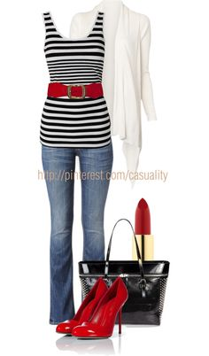 """Striped Tank Top & Kiss Me Red"" by casuality on Polyvore"
